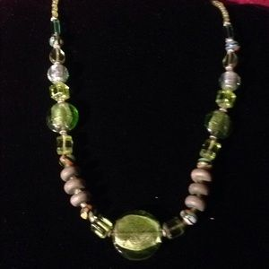 Vintage Green foiled Glass Beads Necklace